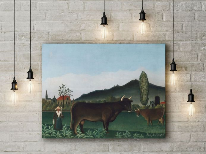 Henri Rousseau: Landscape with Cow. Fine Art Canvas.